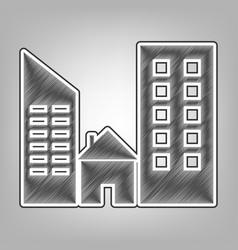 Real estate sign pencil sketch imitation vector