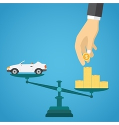 Scales with car and gold coins vector image