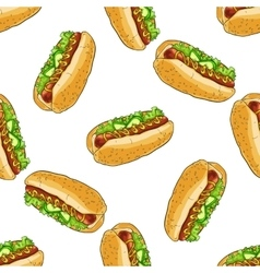 Seamless pattern color hot dog vector