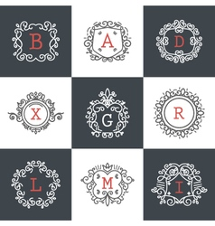 Set of Vintage Frames for Luxury Logos for cafe sh vector image