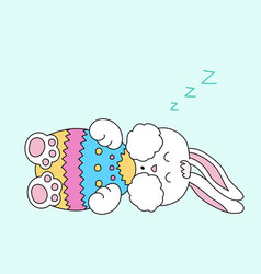 sleeping easter bunny with egg vector image vector image