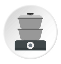 Steam cooker icon circle vector