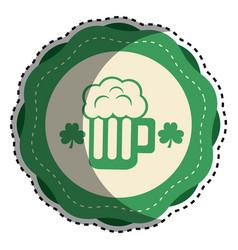 Sticker foam beer glass drink with clover vector