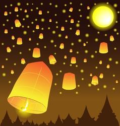 Thai Lanna Fire Balloons vector image
