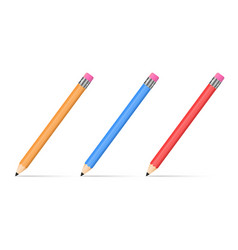 three colored pencils vector image
