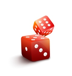Red dice isolated casino  3d gamble background two vector