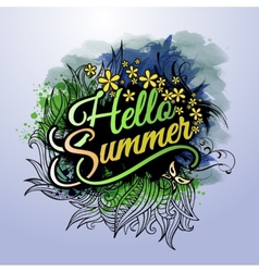 Hello summer paint inscription vector
