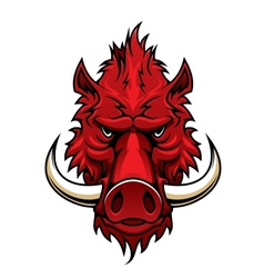 Red boar head mascot vector