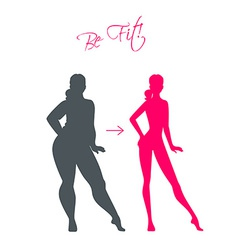 Slim and fat girls vector