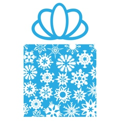 Gift box with snowflakes on white vector