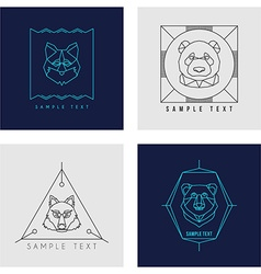 Set of line art badge or logo template wild animal vector