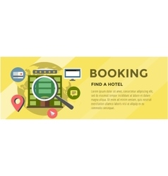 Booking hotel travel infographic loupe building vector