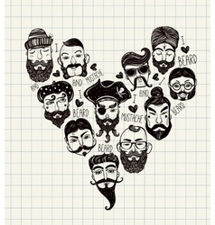Hand drawn set of men f with stylish facial hair vector image