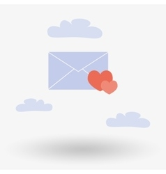 Envelope with two hearts in the clouds vector