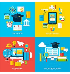 Online education and learning service flat vector