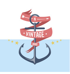 anchor nautical and marine sailing themed label vector image vector image
