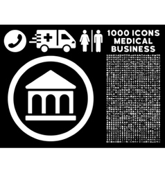 Bank Building Rounded Icon With Medical Bonus vector image