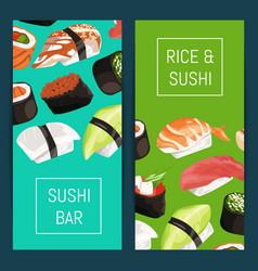 cartoon sushi vertical banner templates vector image
