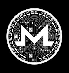 crypto currency monero black and white symbol vector image