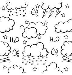 Doodle of weather with cloud rain wind vector