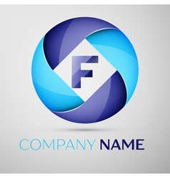 F letter colorful logo in the circle template for vector image