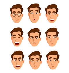 face expressions of a man different male emotions vector image