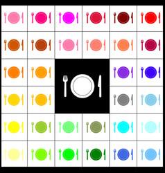Fork plate and knife felt-pen 33 vector