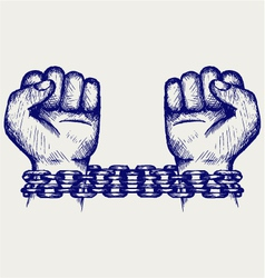 Hands chained in a chain vector image
