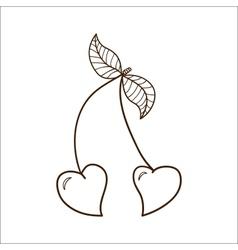 Heart shaped cherries vector