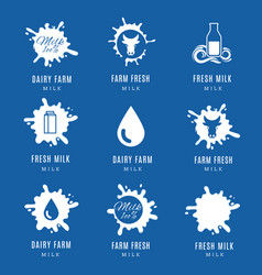 milk splashes logo set labels with drops and vector image