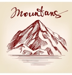 Mountain hand drawn llustration realistic vector
