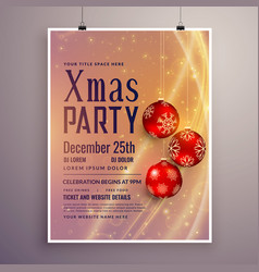 party invitation template design for christmas vector image