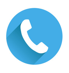 Phone icon in flat style on round blue background vector