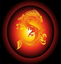 Red and Yellow Chinese Dragon on Black Background vector image