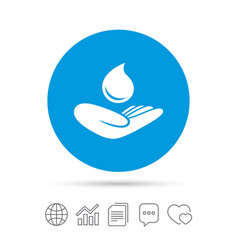 Save water sign hand holds water drop symbol vector