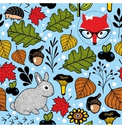 Seamless pattern with cute fox and small hare in vector image