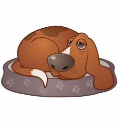 sleepy hound dog vector image vector image