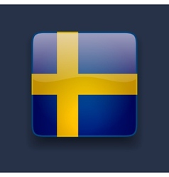 Square icon with flag of Sweden vector image vector image