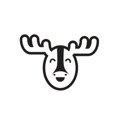 Stylish black and white icon canadian moose vector