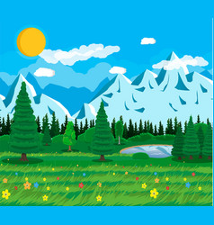 summer nature mountain landscape national park vector image