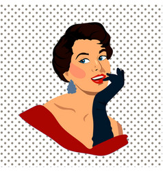 the beautiful retro young woman with gloves vector image vector image