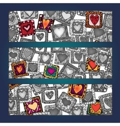 Unique abstract hand drawn ethnic pattern card set vector image vector image