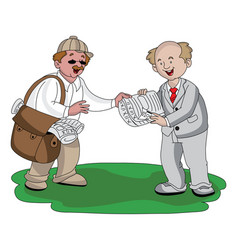 Vendor selling newspaper vector