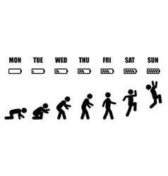 Weekly working life evolution black and white vector