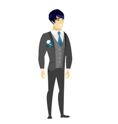 Young asian confident groom vector