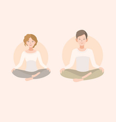 young woman and man couple meditating in lotus vector image