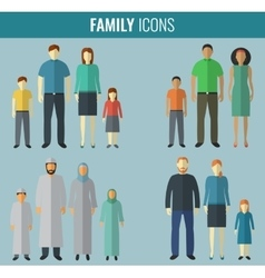 Family icons set traditional culture vector