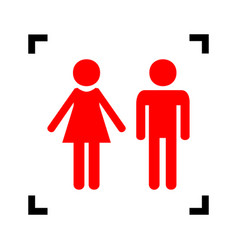 Male and female sign  red icon inside vector