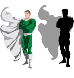 Superhero and silhouette vector