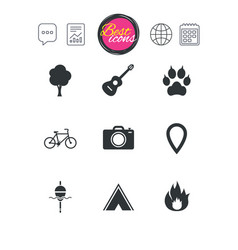 tourism camping icons fishing fire and bike vector image